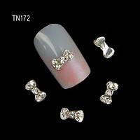 Бантик (цвет серебро) для дизайна ногтей. 3х6mm.1шт