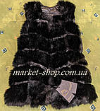 Меховая жилетка женская со съёмными рукавами и капюшоном из искусственного меха Длина изделия 70см Купить!, фото 5