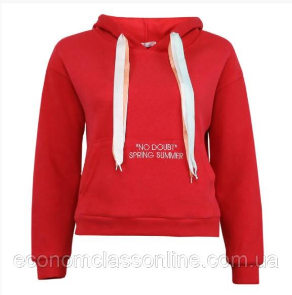 Подростковое худи красное с карманом женское худи с капюшоном на ленточках