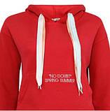 Подростковое худи красное с карманом женское худи с капюшоном на ленточках, фото 4