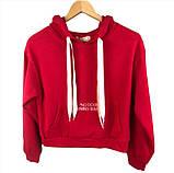 Подростковое худи красное с карманом женское худи с капюшоном на ленточках, фото 2