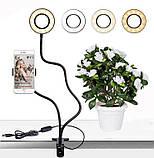 Держатель для смартфона с LED подсветкой для Live Stream / кольцевая лампа для селфи, фото 3