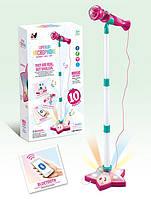 Детский розовый Микрофон на стойке YH015-3 с диско шаром, аплодисментами, барабанная дробь, мелодии