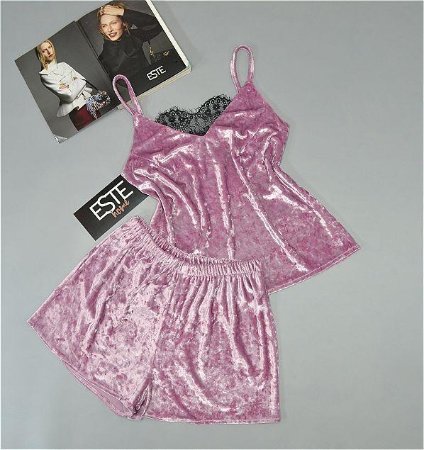 Велюровая пижама майка и шорты Este 301-1 розовая.