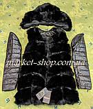 Меховая жилетка женская со съёмными рукавами и капюшоном из искусственного меха Длина изделия 70см Купить!, фото 6