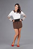Вышитый костюм для девушек с мини-юбкой, размер 44