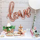 Love прописью100 см розовое золото фольгированный шар 1898, фото 5