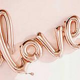 Love прописью100 см розовое золото фольгированный шар 1898, фото 6