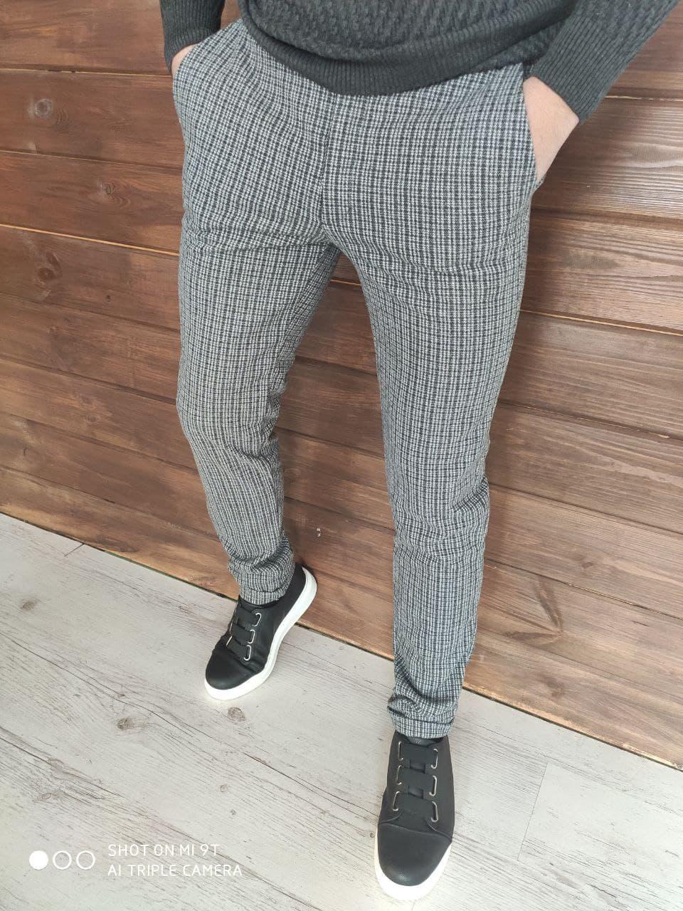Чоловічі штани теплі в клітку О Д