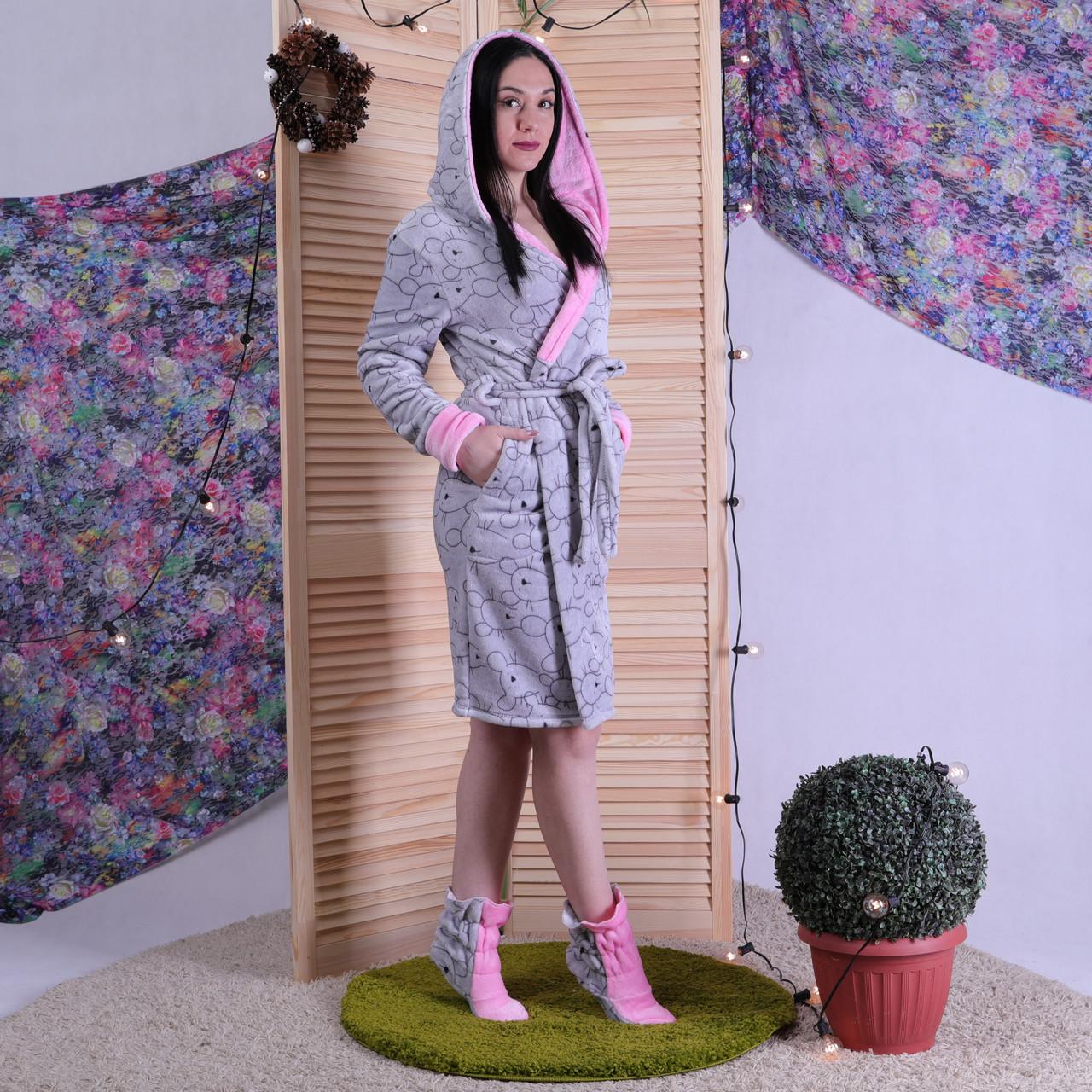 """Махровий жіночий халат з чобітками """"Winter"""" р. 50"""