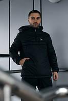 Анорак Nike мужской черный теплый ветровка Найк спортивная куртка осенняя весенняя
