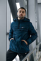 Анорак Nike мужской синий теплый ветровка Найк спортивная куртка осенняя весенняя