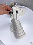 Женские ботинки ДЕМИ бежевые на платформе эко кожа весна/ осень, фото 10