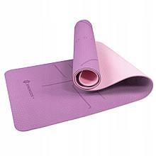 Коврик для йоги Springos TPE 6 мм Фиолетовый-Розовый