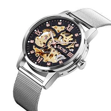 Механические мужские часы скелетон Skmei 9199 серебристые