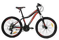 """Подростковый алюминиевый велосипед Crosser Stream 24"""" рама 14"""",комплектация SHIMANO собран в короб. ЧЕРНЫЙ"""