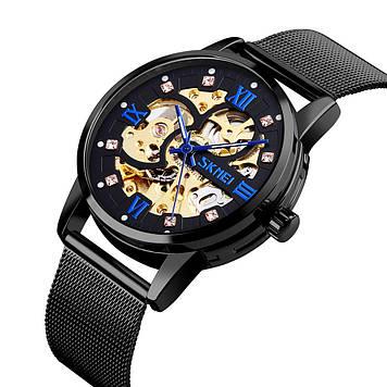 Мужские часы скелетон Skmei 9199 черные механические