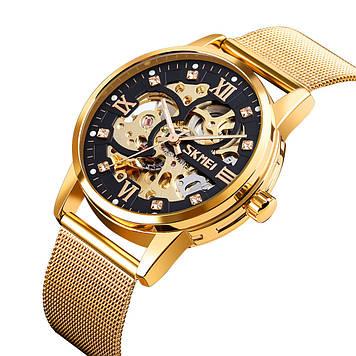 Механические мужские  часы скелетон Skmei 9199 золото с черным