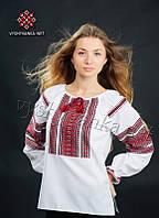 Украинская традиционная рубашка с тканой нашивкой белого цвета (0031), фото 1
