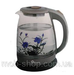 Стеклянный электрочайник (с цветком) Domotec DT-820 2000ВТ (электрический чайник стеклянный на 2 л)