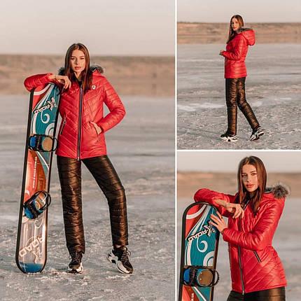 """Теплий і стильний зимовий жіночий костюм двійка з капюшоном і хутром овчиною на """"Синтепоні"""" 42, 44, 48 розмір 42, фото 2"""