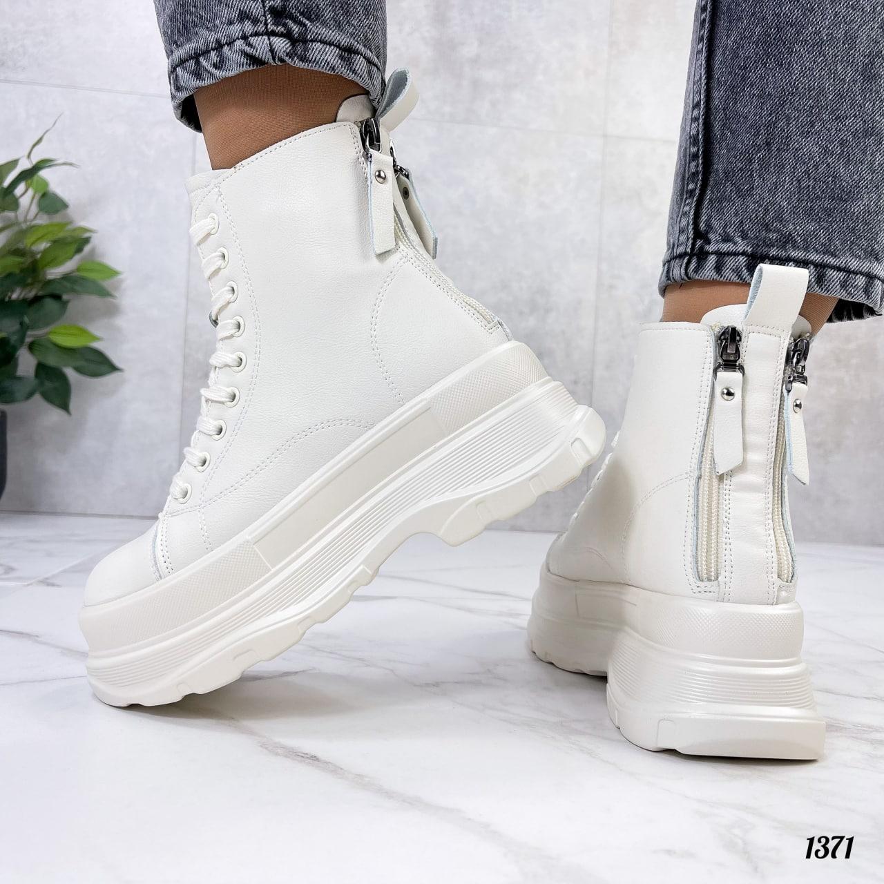 Женские ботинки ДЕМИ бежевые на платформе эко кожа весна/ осень