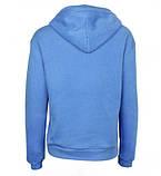 Блакитні худі однотонні з кишенею хорошої якості жіноче блакитне худі з капюшоном, фото 2