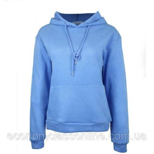 Блакитні худі однотонні з кишенею хорошої якості жіноче блакитне худі з капюшоном