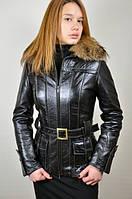 Кожаная женская куртка с енотом, распродажа
