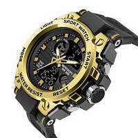Красивые мужские часы Sanda 739 Black-Gold оригинал кварцевые