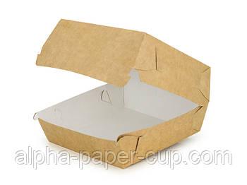 Упаковка гамбургер Maxi 130*130*80 буро-белая, 100 шт/уп, 10 уп/ящ.