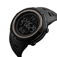 Спортивные мужские часы Skmei 1251 Amigo черные с коричневым