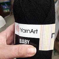 Нитки для в'язання пряжа акрилова дитяча  Baby YarnArt, 100% акрил   50 гр., 150 м,  Чорні