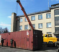 Погрузка-разгрузка контейнера автокраном, фото 1
