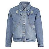 Куртка женская джинсовая укороченная с ромашкой синяя Pretty #71, фото 10