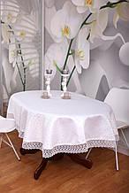 Скатерть Праздничная с Кружевом 130-175 3D «Glamor» Овальная с крупным узором Белая №3