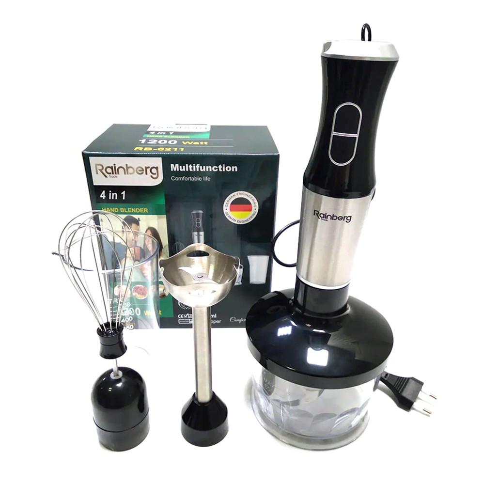 Блендер измельчитель ручной погружной кофемолка с чашей блендер-миксер Rainberg RB-6211 4в1 1200 Вт