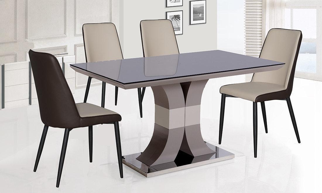 Стол стеклянный нераскладной  Космо  N-119 PRESTOL, цвет черный +беж