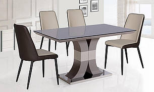 Стол стеклянный нераскладной  Космо  N-119 PRESTOL, цвет черный +беж, фото 2