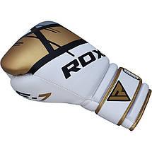 Боксерские перчатки RDX Rex Leather Gold 8 ун., фото 2
