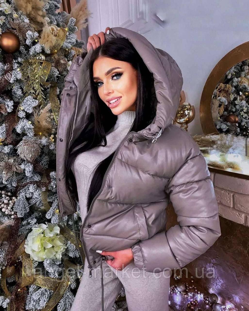 Осенняя  женская  куртка из эко-кожи силикон 200 новинка 2021