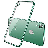 """Прозрачный силиконовый чехол с глянцевой окантовкой Full Camera для Apple iPhone XR (6.1"""") Зеленый"""
