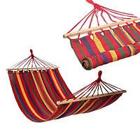 Гамак подвесной тканевый с планкой для дома дачи сада 200x80 см Гамак садовый с перекладиной для отдыха