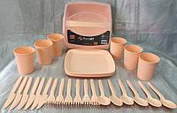 Набор для пикника пластиковый на 6 персон (31 предмет: тарелки, ложки, вилки, стаканы)