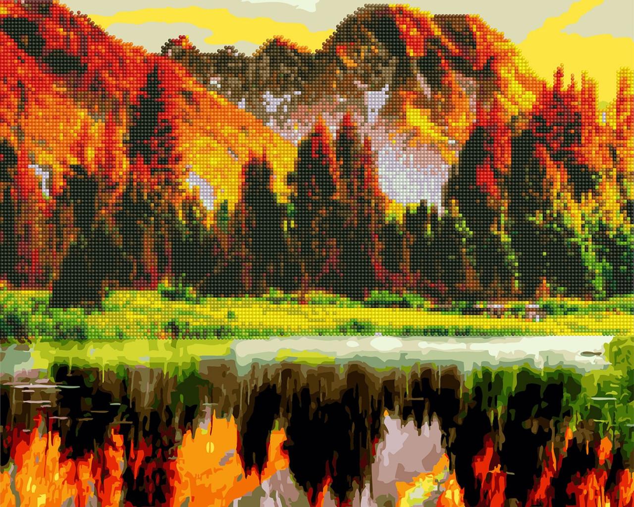 Алмазная мозаика + раскраска. Осенний пейзаж,  40*50 см, Brushme