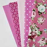 """Набор ткани для рукоделия """"Розовый жемчуг"""" из 5 шт., фото 2"""