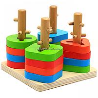 Деревянная пирамидка - сортер Fun Game 3+ (7377), фото 2