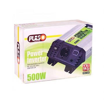Преобразователь напряжения 12V-220V/500W/ USB-5VDC2.0A/клеммы/ PULSO IMU-520
