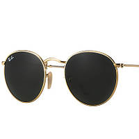 Солнцезащитные Очки Ray Ban 3447 Round Metal Gold стекло копия круглые солнечные очки рей бен, фото 1