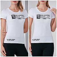 Турецкая трикотажная стильная футболка с надписью, белая FP 2052